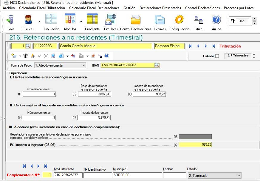 Software NCS Fiscal - Renta no residentes