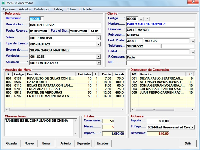 Software NCS TPV Restaurantes